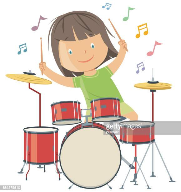 girl playing drums - drum percussion instrument stock illustrations, clip art, cartoons, & icons