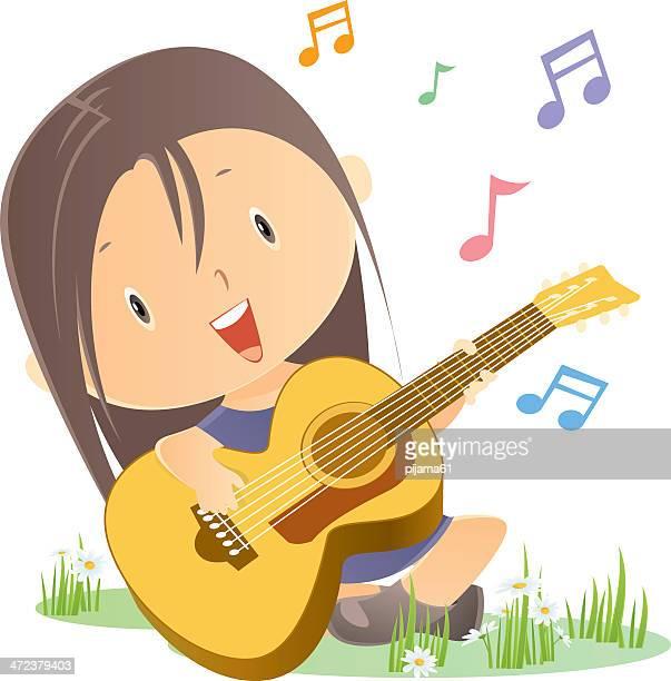 ilustraciones, imágenes clip art, dibujos animados e iconos de stock de niña tocando la guitarra - puntear un instrumento