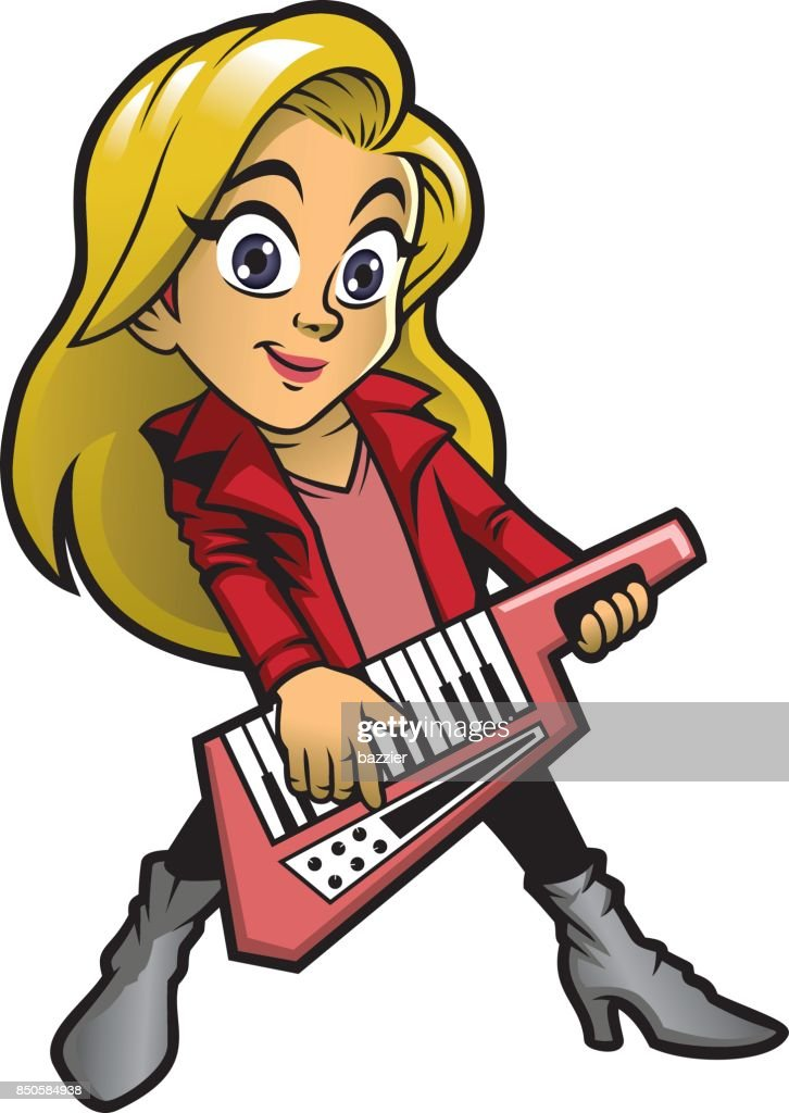 girl playing keytar