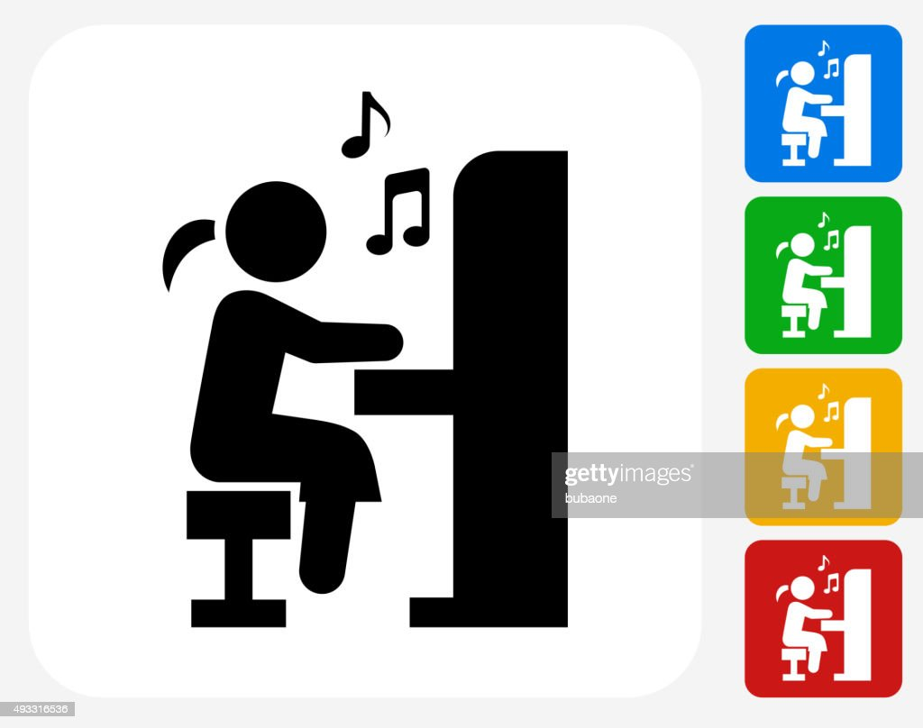 Girl Playing Piano Icon Flat Graphic Design Vector Art