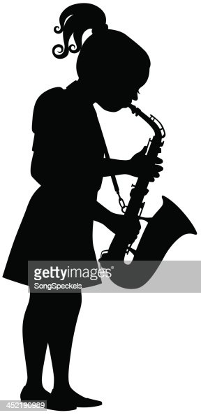 Girl Playing Saxophone Vector Art   Getty Images