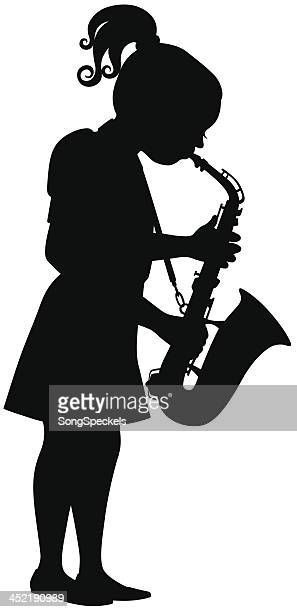girl playing saxophone - saxaphone stock illustrations, clip art, cartoons, & icons
