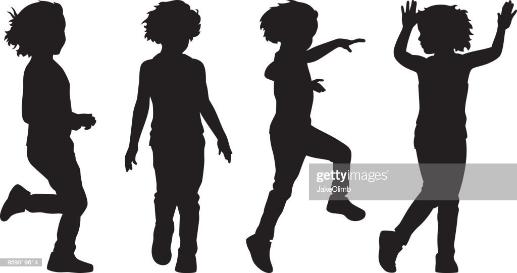 Girl Playing Silhouettes 1 : stock illustration