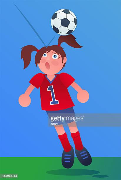 girl playing soccer - heading the ball stock illustrations