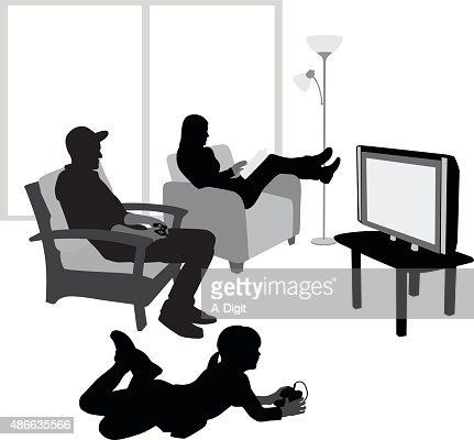 Girl Playing Video Games With Her Dad Vector Art Getty Images
