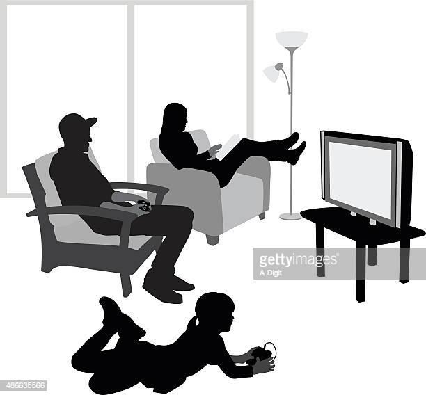 ilustraciones, imágenes clip art, dibujos animados e iconos de stock de niña jugando videojuegos con su padre - familia viendo tv