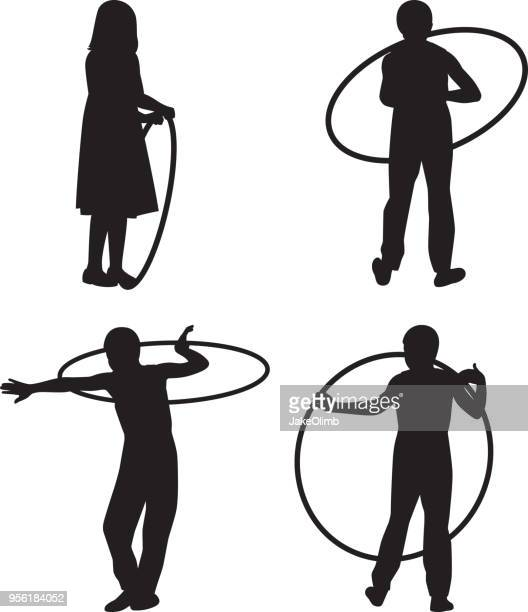 girl playing with hoop silhouettes - plastic hoop stock illustrations