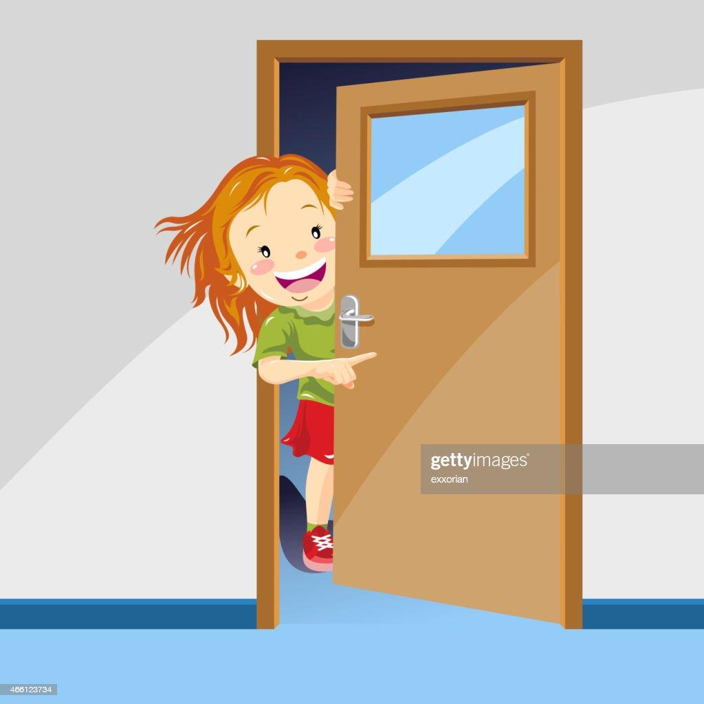 Girl Pointing The Way Behind the Door & Kids Through Open Door Cartoon Stock Illustrations And Cartoons ...