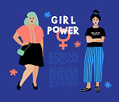 Girl Power card, Feminist flyer Anti-discrimination poster. Stylish young women on dark blue background, place for text. Hipster characters, Vector flat design
