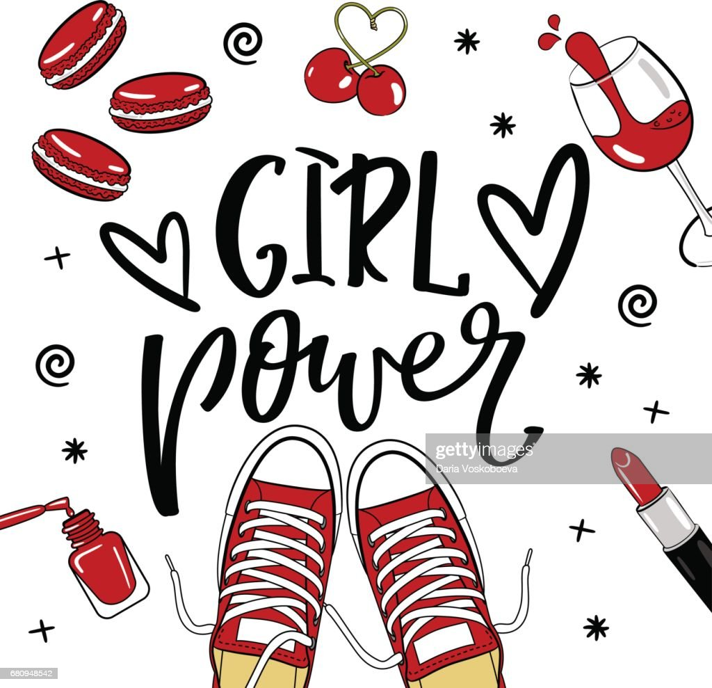 Girl power stickers with lettering. Set with glamour elements. Cute stickers for girls. Fashion accessories.