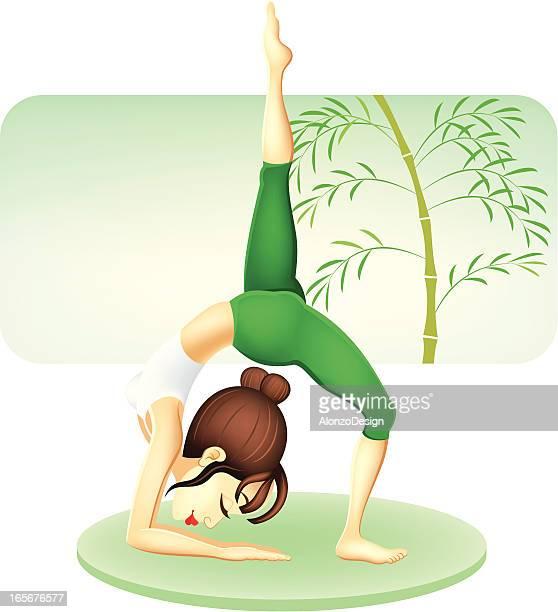 girl practicing yoga - yoga instructor stock illustrations, clip art, cartoons, & icons