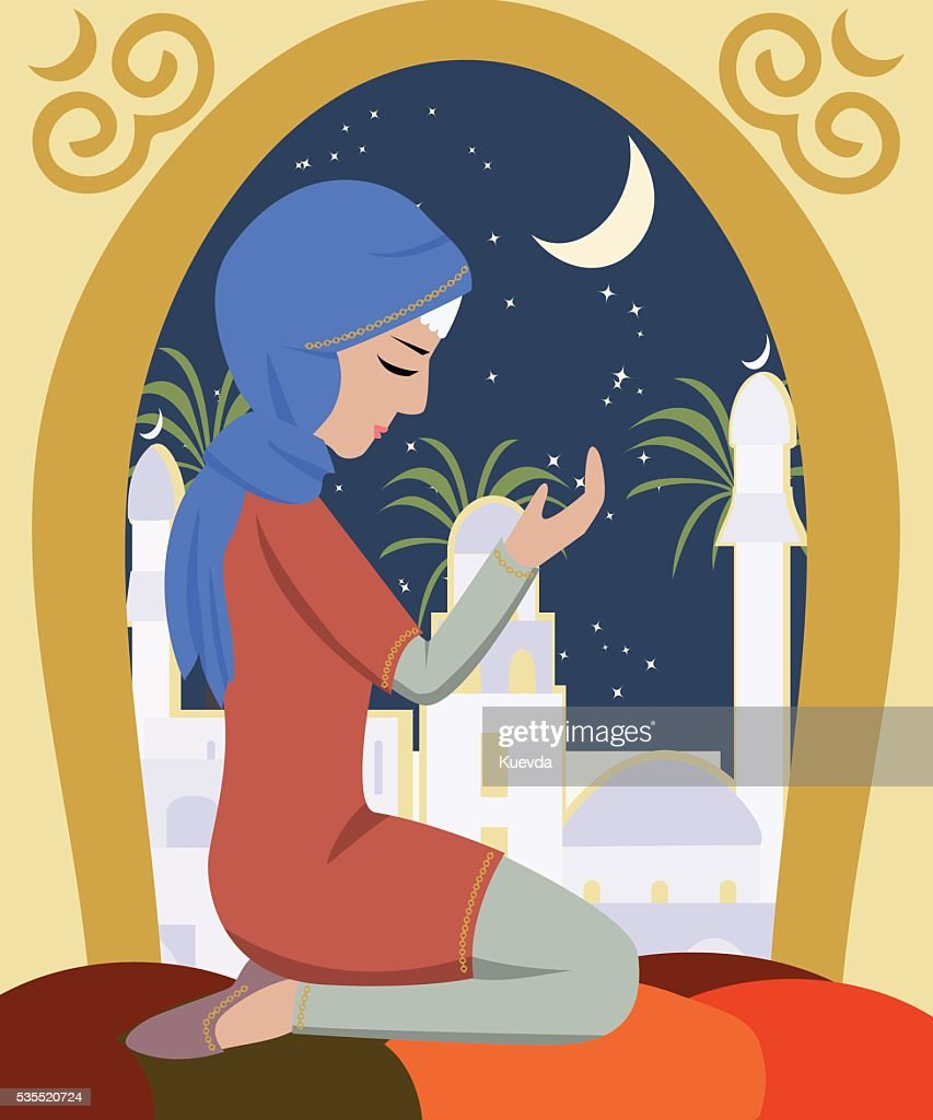 girl praying at ramadan