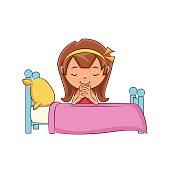 Girl praying bed
