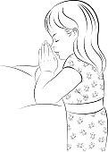 Girl Praying, Kneeling by Her Bed