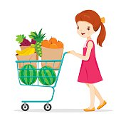 Girl Pushing Shopping Cart With A Lot Of Fruits