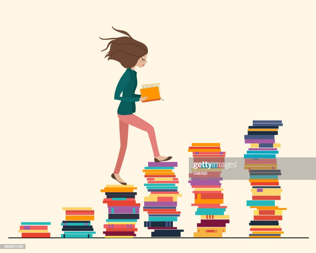 Girl reading a book and walking on the stair made of books