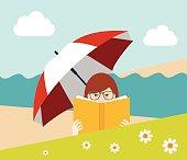 Girl reading a book on the beach. Flat vector.