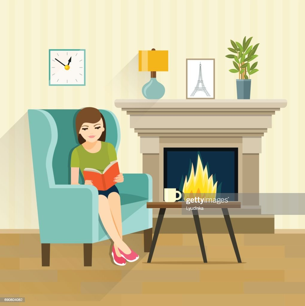 Girl reading book  by the fireplace. Vector flat illustration