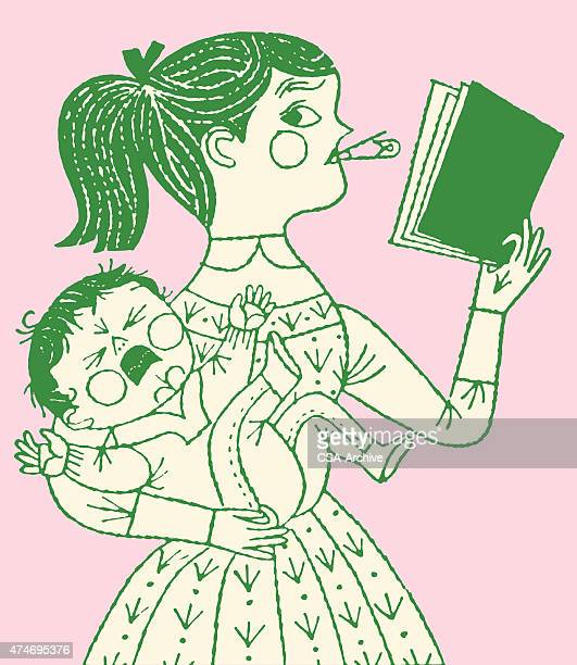 girl reading book while holding baby - nanny stock illustrations