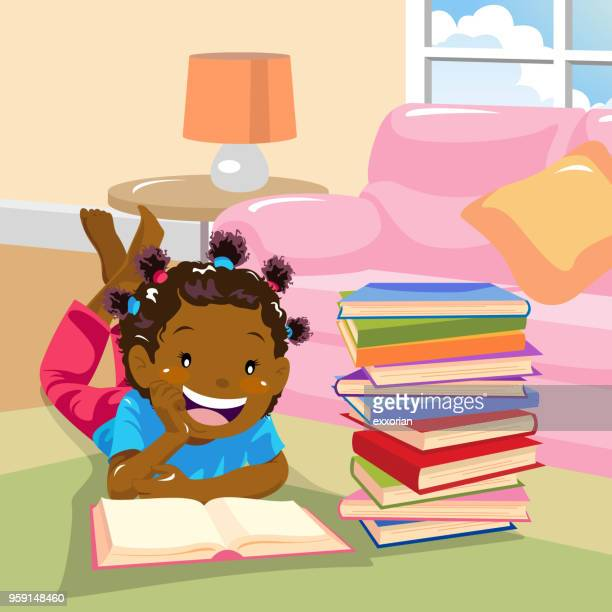 girl reading by the sofa - lying on front stock illustrations, clip art, cartoons, & icons