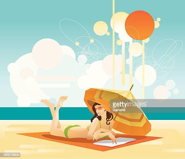 Girl reads book on beach