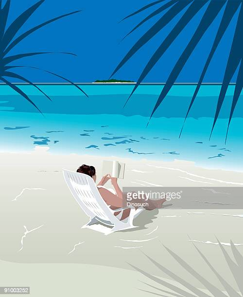 Girl relaxing and reading on a secluded beach