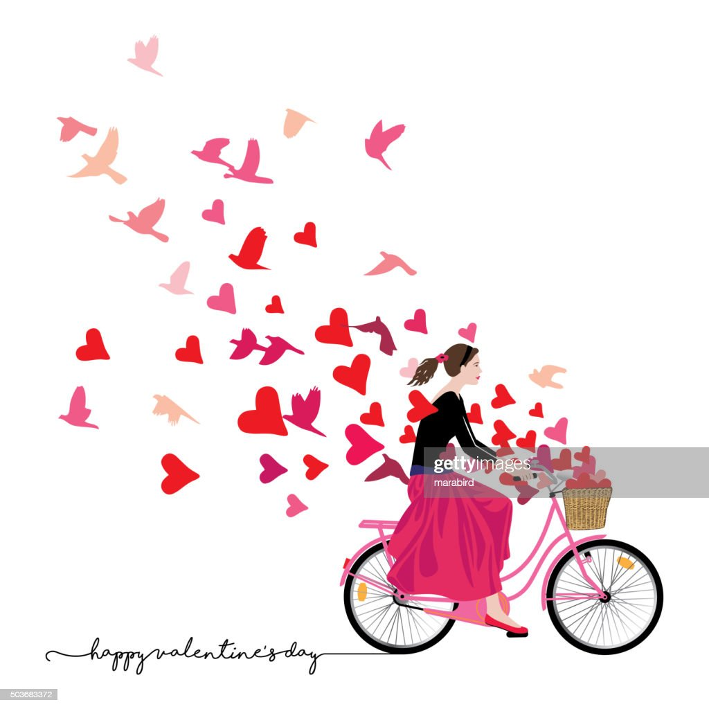 Girl riding bicycle sends love freedom freshness