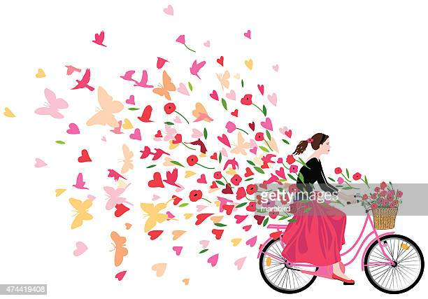 girl riding bicycle spreading love joy and freedom - single flower stock illustrations