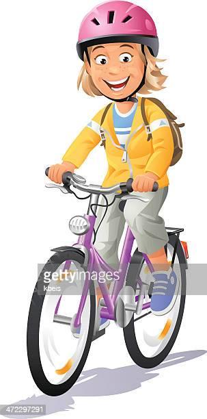 girl riding bike - bike helmet stock illustrations, clip art, cartoons, & icons