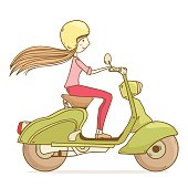 girl riding on a scooter