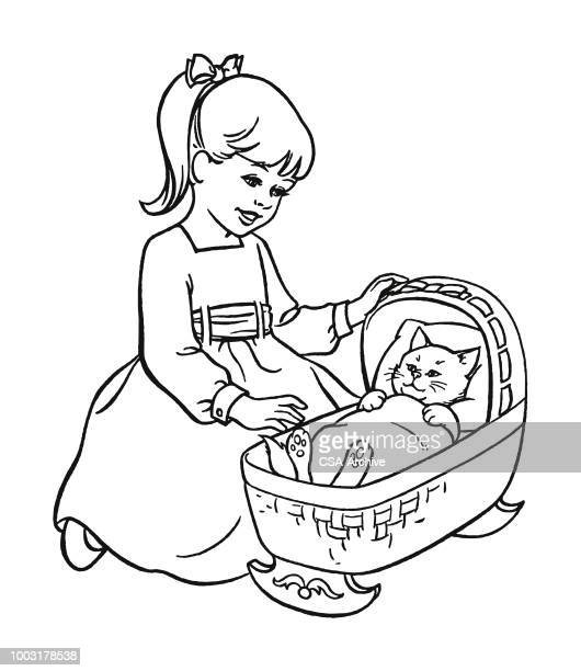 girl rocking a cat in a cradle - rock baby sleep stock illustrations