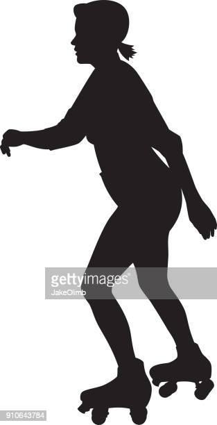 Girl Roller Skating Silhouette