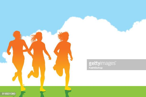 girl runners or joggers background - women's track stock illustrations, clip art, cartoons, & icons