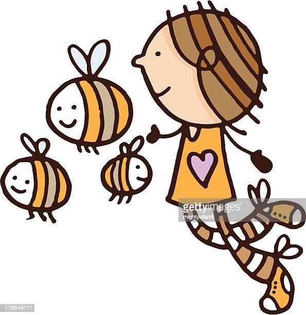 Menina a correr com abelhas
