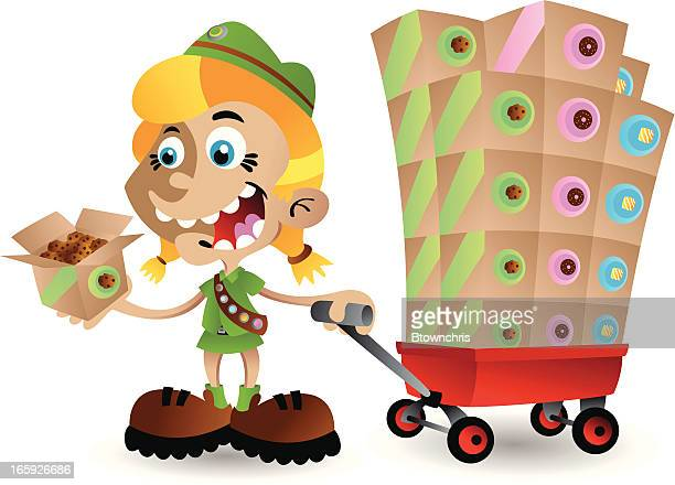 girl scout cookie time - girl scout stock illustrations