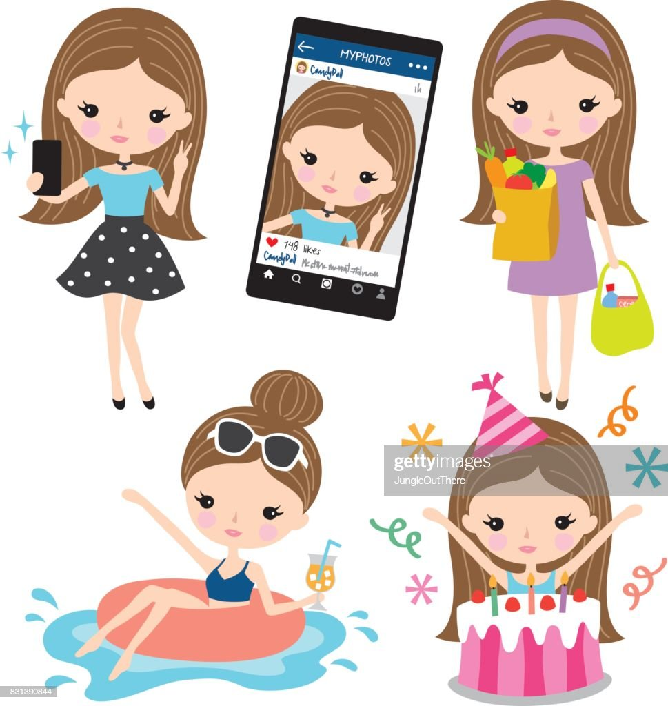 Girl Selfie Grocery Shopping Pool Birthday Lifestyle Set