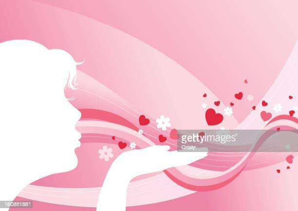 Girl sending a blow kiss