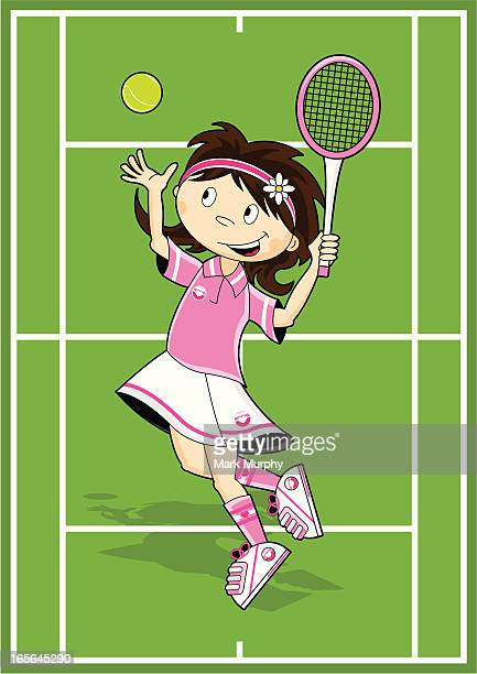 Girl Serving on Tennis Court