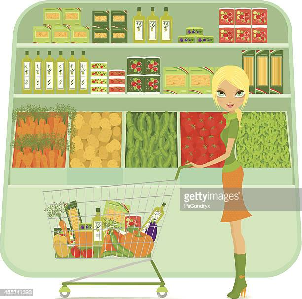 girl shopping at supermarket with cart and grocery - marrom stock illustrations