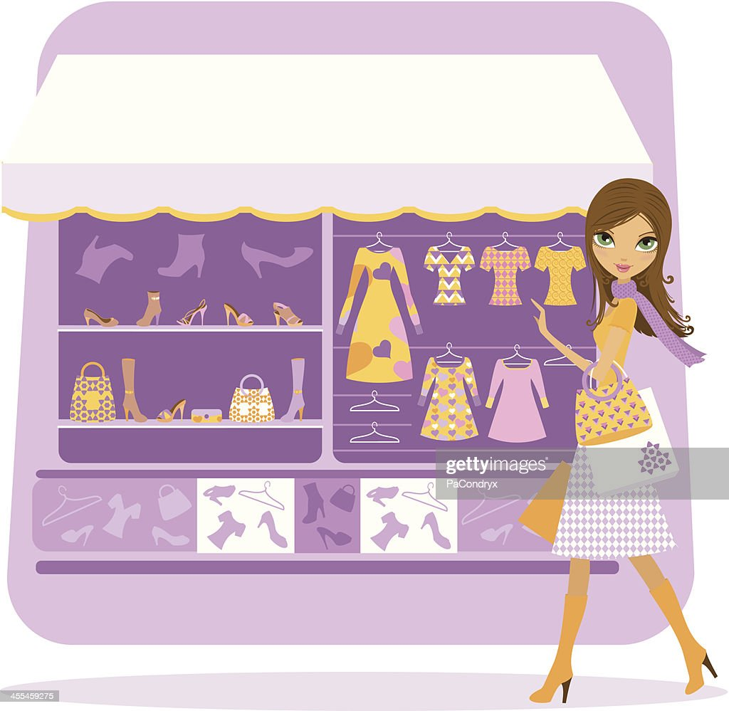 Girl shopping clothes, shoes and accessories