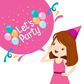 Girl Shouting And Speech Bubble With Party Letter