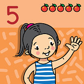 Girl showing five by hand. Counting education card