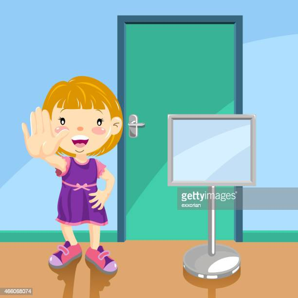 girl showing no entry gesture in front of the door - closed sign stock illustrations, clip art, cartoons, & icons