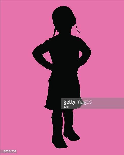 girl silhouette - braided hair stock illustrations, clip art, cartoons, & icons