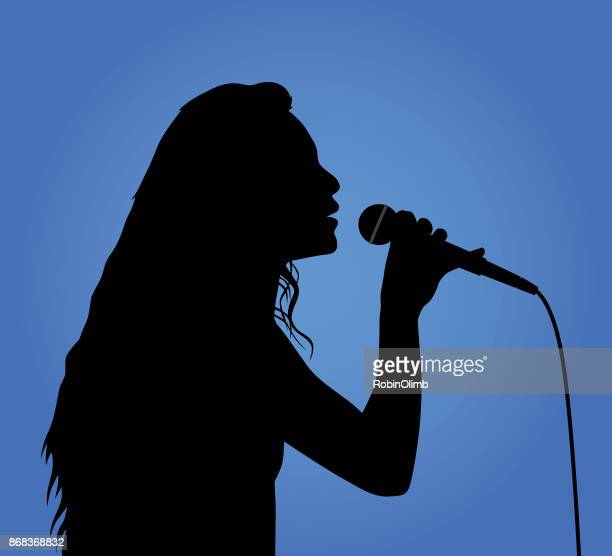 girl singing silhouette - karaoke stock illustrations