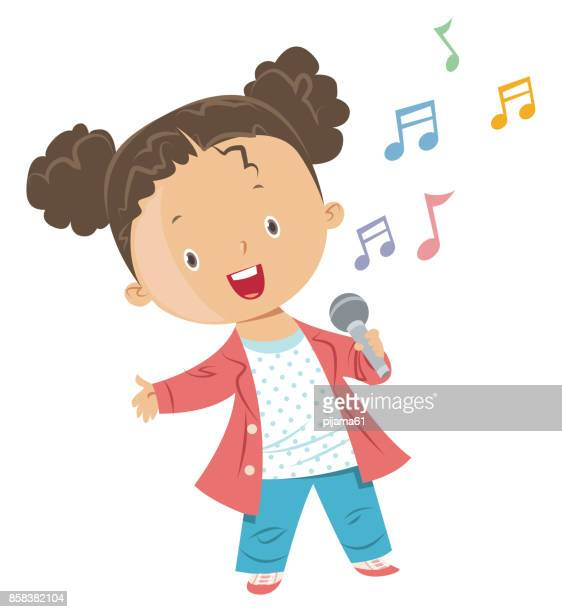 girl singing - karaoke stock illustrations