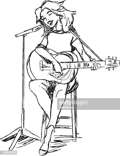 girl singing with guitar and microphone - guitarist stock illustrations, clip art, cartoons, & icons
