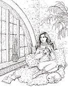 Girl sitting near the window.