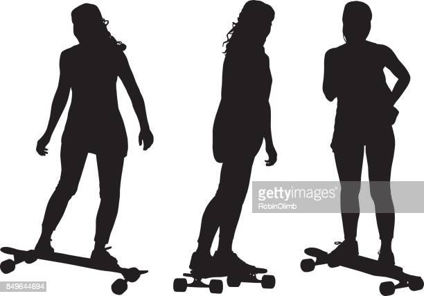 girl skateboarding silhouettes - young adult stock illustrations, clip art, cartoons, & icons