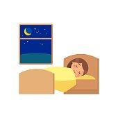 Girl sleeping on the bed.